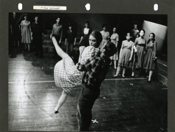 Dancers practicing a move, ca. 1960's
