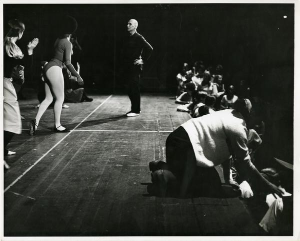 "Jose Limon watching the UCLA Dancers while practicing ""Missa Brevis,"" 1968"