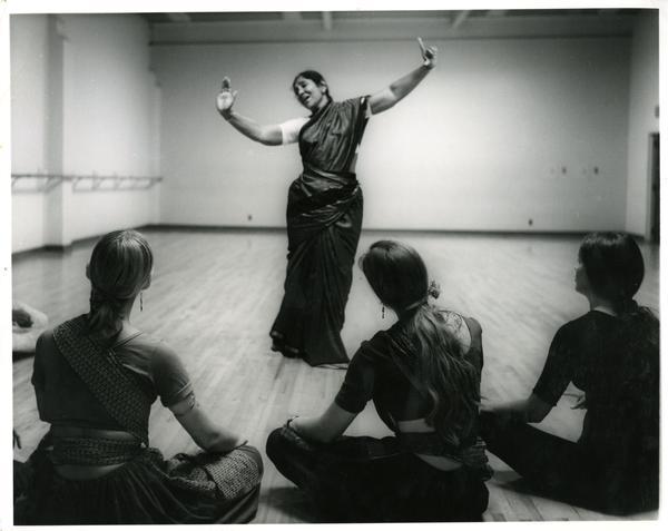 Balasaraswati performing for UCLA dancers, 1970's