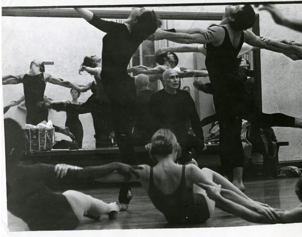 "Jose Limon watching the UCLA Dancers while practicing ""Missa Brevis,"" 1970"