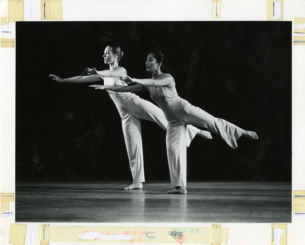 Members of the UCLA Dance Company performing a routine, ca. 1980's