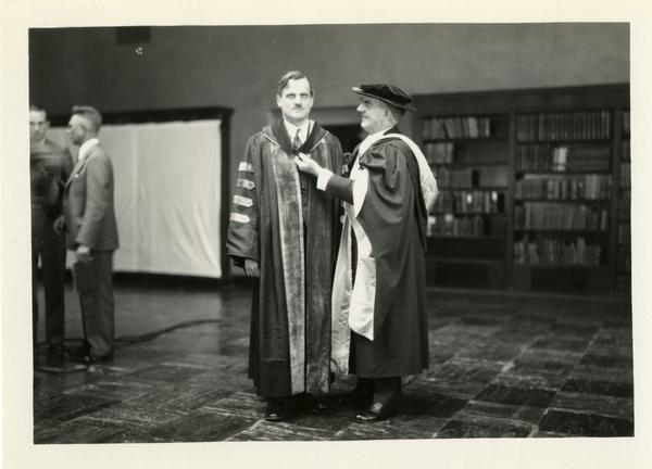 UC President William Wallace Campbell with Arthur Holly Compton at the dedication of the Westwood campus, March 1930