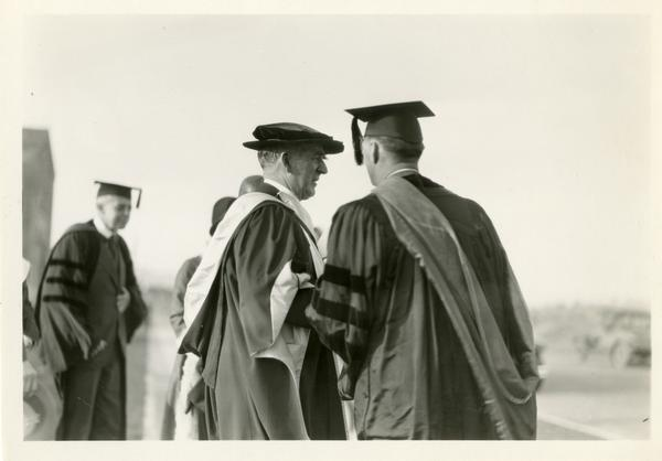 UC President William Wallace Campbell with unidentified man at the dedication of the Westwood campus, March 1930