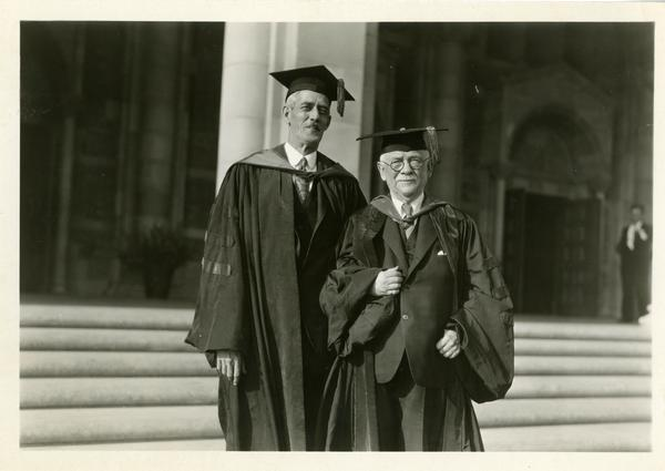 Professor of Mathematics Earle Raymond Hedreck and Regent John R. Haynes at the dedication of the Westwood campus, March 1930