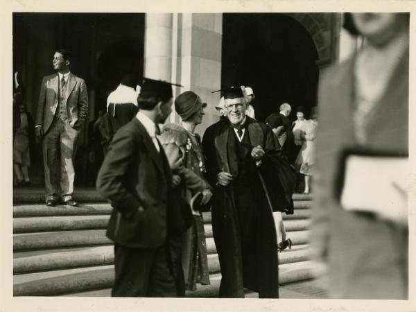 Provost Ernest Carroll Moore talking with guests at the dedication of the Westwood campus, March 1930