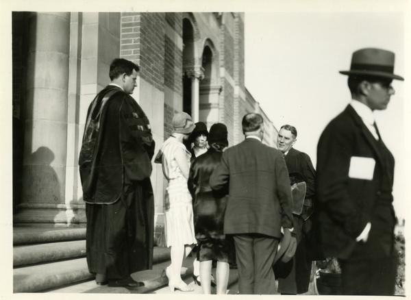 Dean Blyth Webster exiting Royce Hall at the dedication of the Westwood campus, March 1930