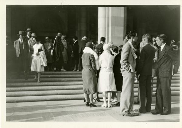 Guests of the dedication of the Westwood campus standing on the steps of Royce Hall, March 1930