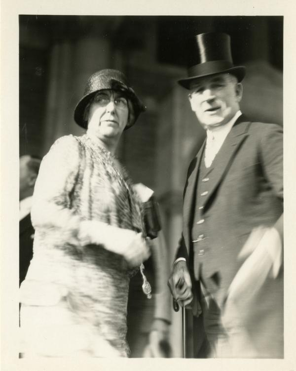 UC President William Wallace Campbell and an unidentified woman, presumably his wife, at the dedication of the Westwood campus, March 1930