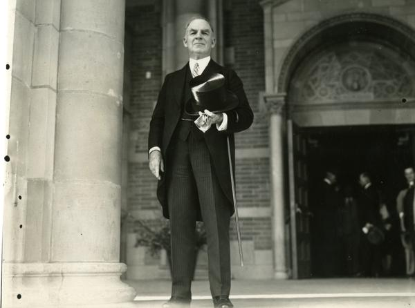 UC President William Wallace Campbell on the steps of Royce Hall at the dedication for the Westwood campus, March 1930