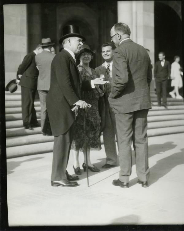 UC President William Wallace Campbell talks with others at the dedication of the Westwood campus, March 26, 1930