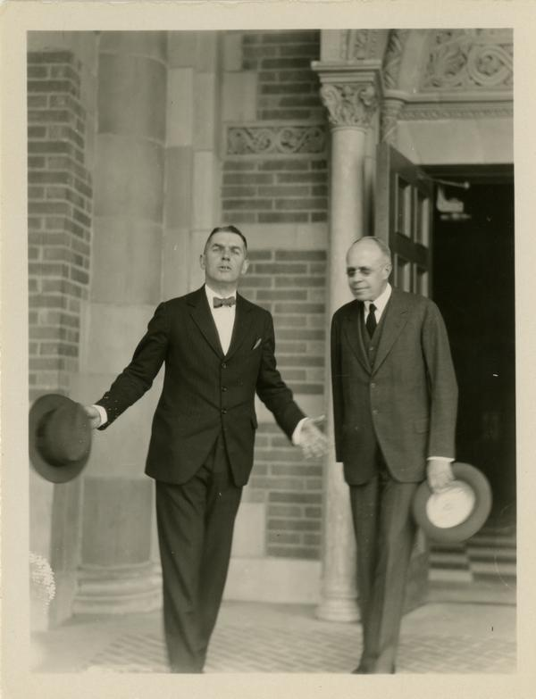 Dean Blythe Webster and an unidentified man at the dedication of the Westwood campus, March 1930