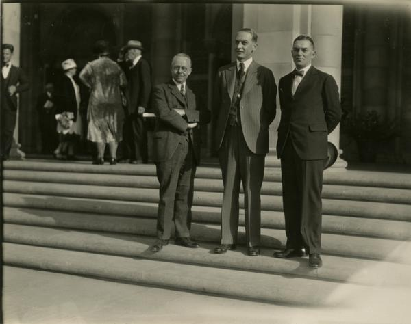 John R. Hayes, Robert G. Sproul, and Dean Blythe Webster on the steps of Royce Hall at the dedication of the Westwood campus, March 1930