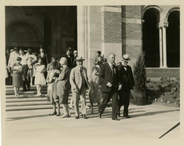 Guests exiting Royce Hall at the dedication of the Westwood campus, March 1930