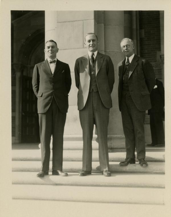 Dean Blythe Webster, Robert G. Sproul, and Regent John R. Haynes on the steps of Royce Hall at the dedication of the Westwood campus, March 1930