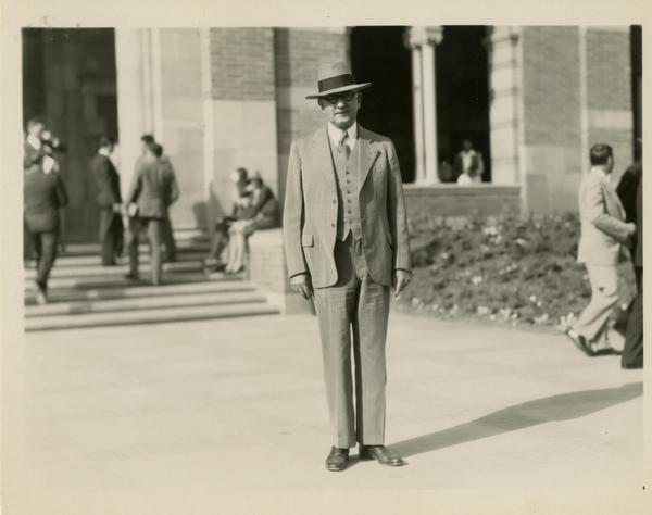 Regent John R. Haynes outside Royce Hall at the dedication of the Westwood campus, March 1930