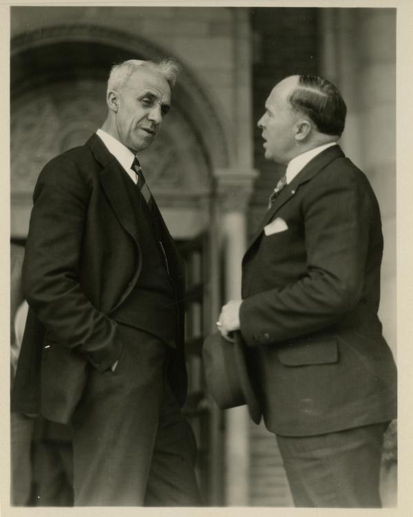 Two guests of the dedication of the Westwood campus talking, March 1930