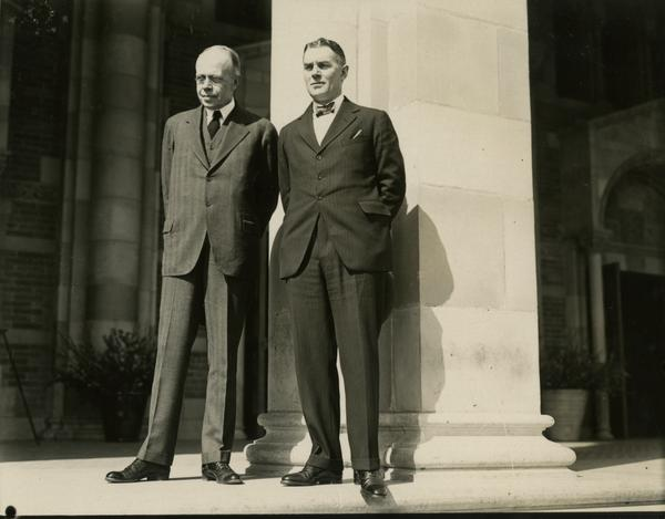 Dean Blythe Webster and an unidentified man on the steps of Royce Hall at the dedication of the Westwood campus, March 1930