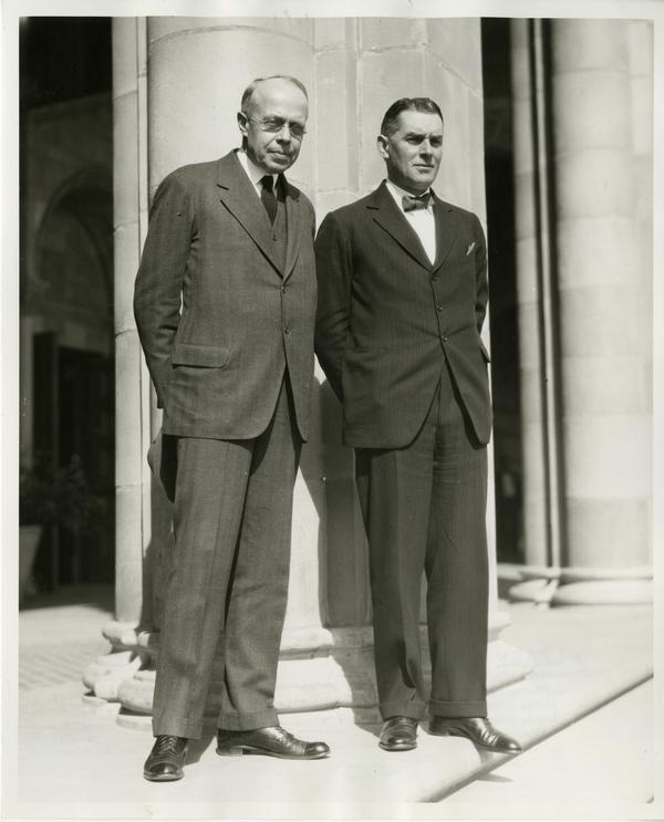 Dean Blyth Webster and unidentified guest on the steps of Royce Hall at the dedication of the Westwood campus, March 1930