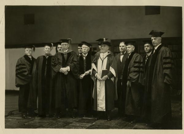 Members of the academic procession gathered for a group photograph at the dedication of the Westwood campus, March 1930
