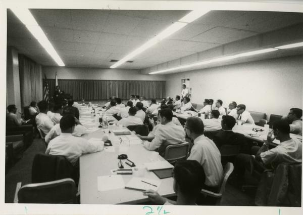 Major General Jerry D. Page addresses the conference room at the Defense Science Seminar, ca. 1965