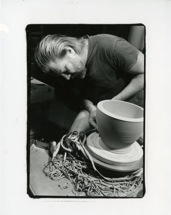 Design department student shaping ceramics, 1990