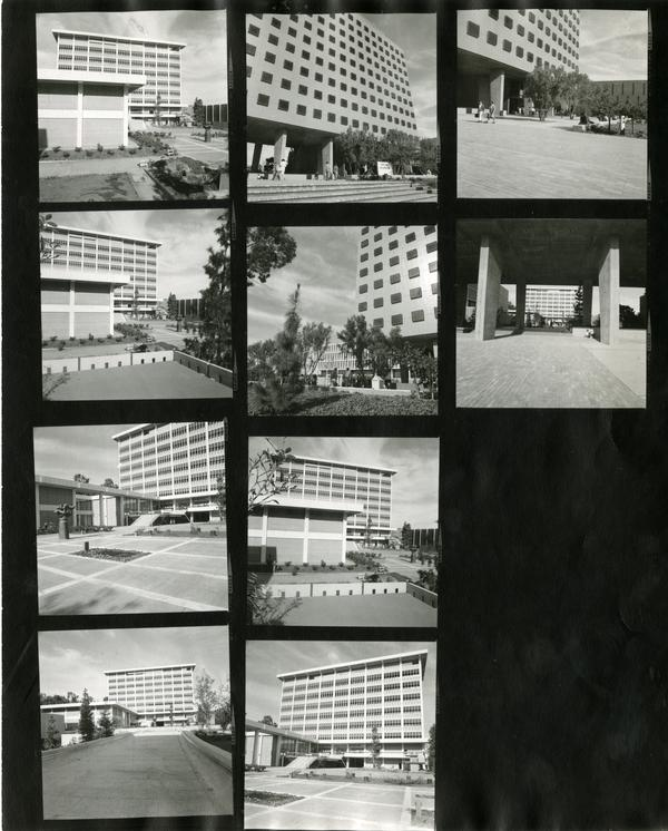 Contact sheet of the exterior of the Dickson Art Center, ca. 1966