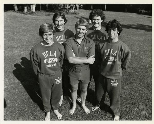 Members of the 1981 Diving Team in sweats