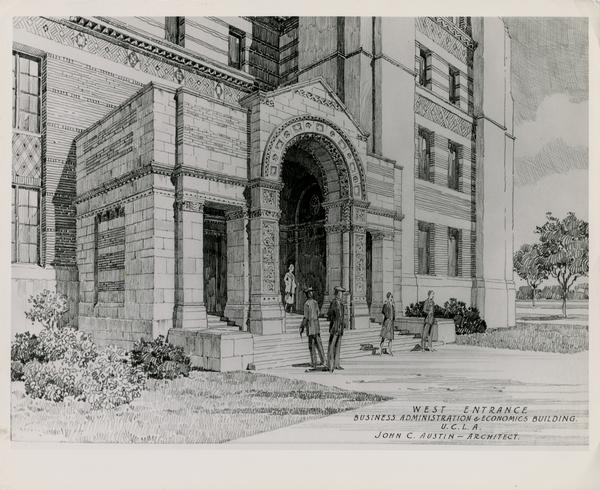 Architectual rendering of West Entrance of the Business Administration Building, ca. 1948