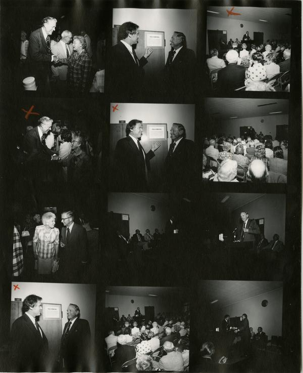 Contact sheet of the renaming ceremony for Dodd Hall, September 1974