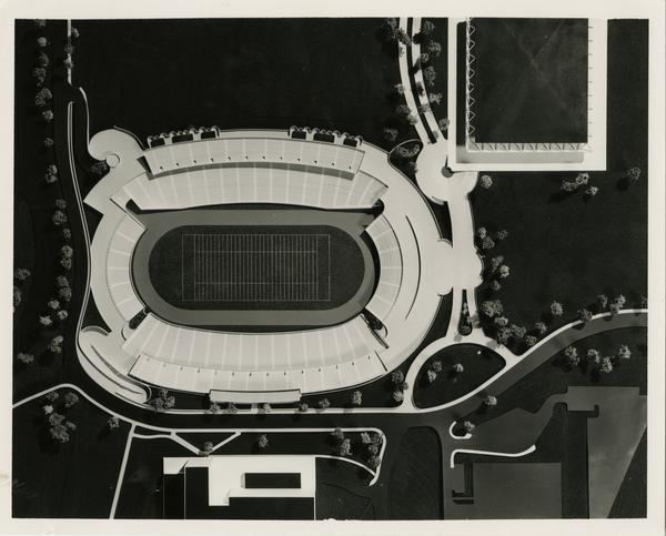 Overhead shot of Drake Stadium architectual model
