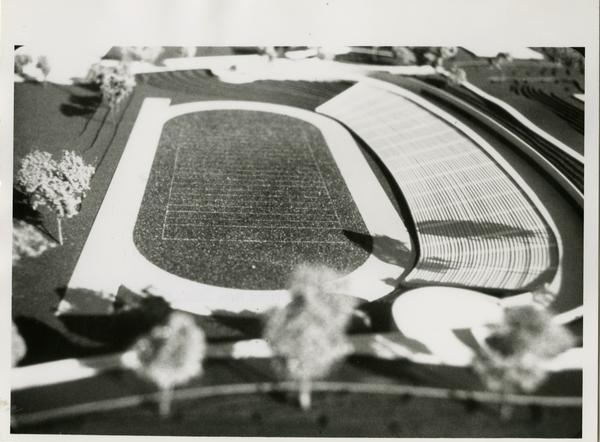 Close-up shot of Drake Stadium architectual model