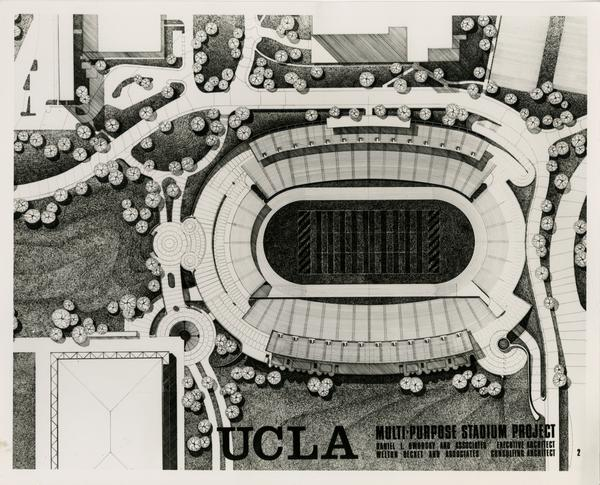 Aerial view of a model of the track and field at Drake Stadium
