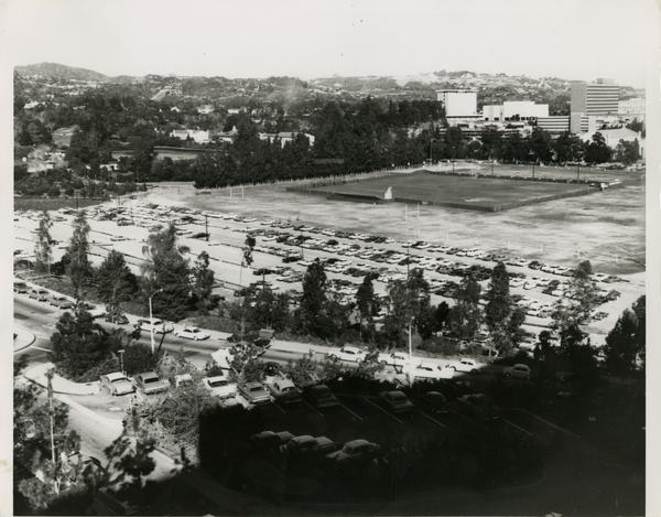 View of the parking lot next to the track and field