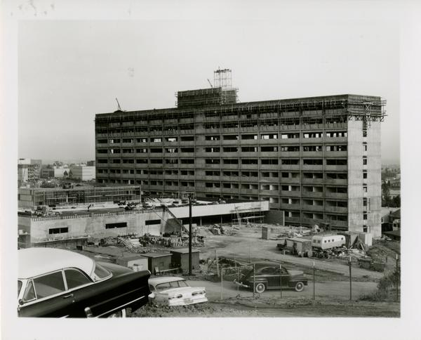 View of construction of Dykstra Hall