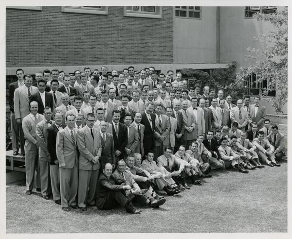 Men, presumably of the engineering department, grouped for a picture