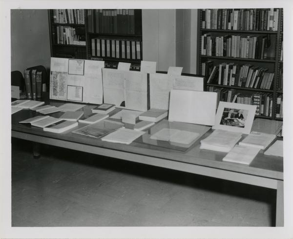 Tables set up for display in English Reading Room for an UCLA Open House
