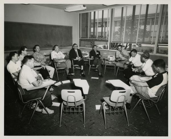 Group discussion during Western Regional Leadership Laboratory, circa 1960