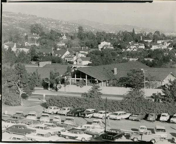 View of Faculty Center and parking lot, 1959