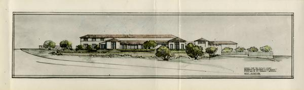Architectual rendering of west elevation House for Faculty Clubs
