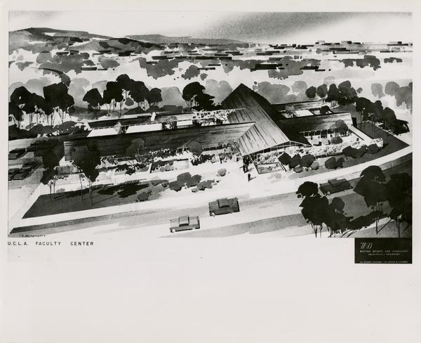 Architectual rendering of Faculty Center, 1958