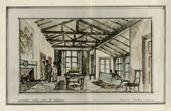 Architectual rendering of Lounge for men and women in the Faculty Club
