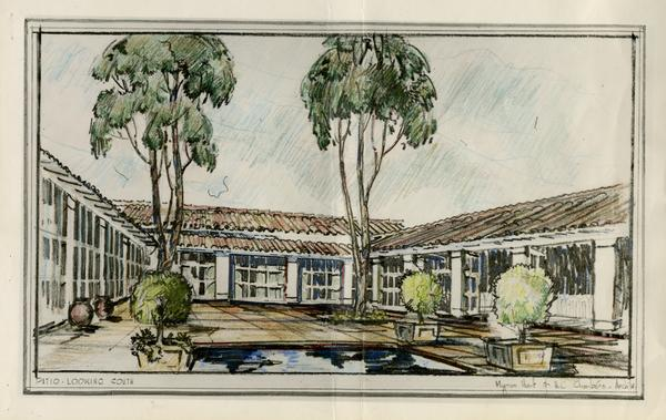 Architectual rendering of patio of the House for the Faculty Clubs