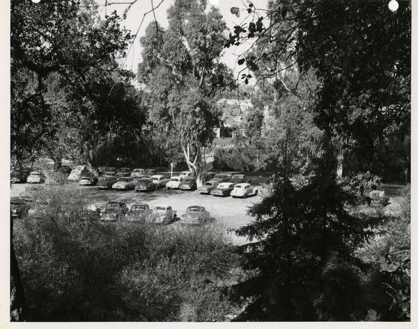 View of parking lot for the Fernald School, the Psychology Clinic School