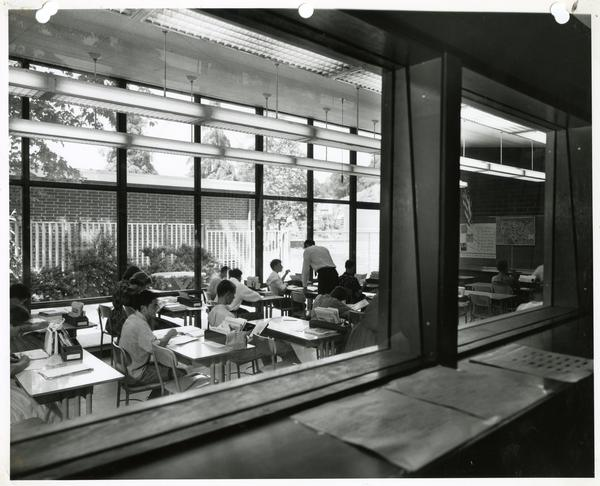View into classroom from observation room in the U.C.L.A. Psychology Clinic School