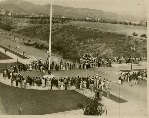 View of the flagpole dedication on October 21, 1931