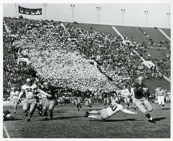UCLA football game, looking at the stands from the field, 1940