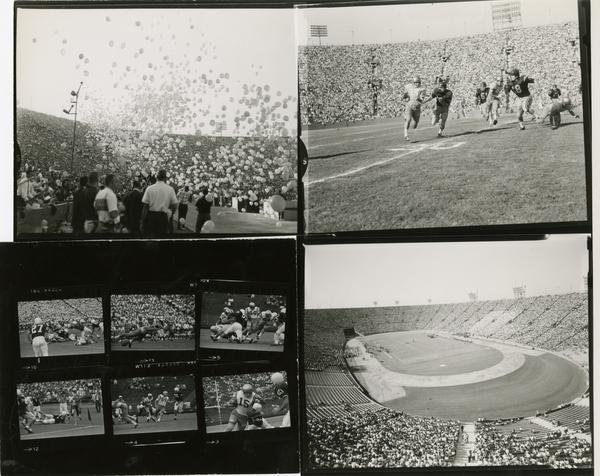 Contact prints of scenes at USC and UCLA football game, 1950