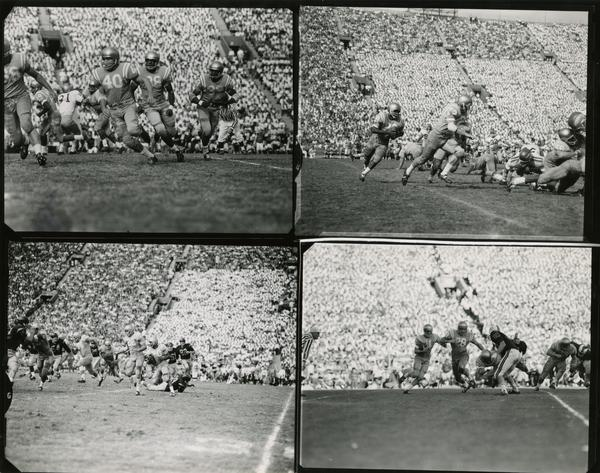 Contact prints of football game action, ca. 1950s