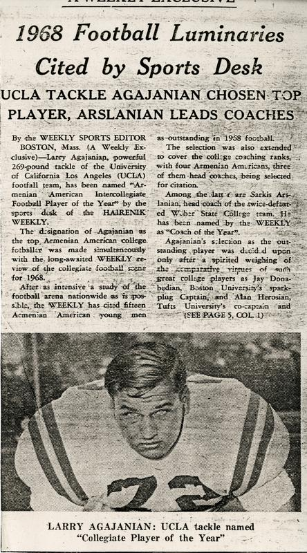Newspaper article about Larry Agajanian being named Collegiate Player of the Year
