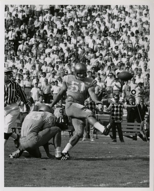 UCLA kicker Zenon Andrusyshyn kicking the ball in a football game